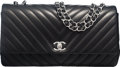 """Luxury Accessories:Bags, Chanel Black Lambskin Leather Chevron Quilted Single Flap Bag withSilver Hardware. Condition: 3. 12.5"""" Width x 6.75"""" Heig..."""