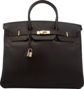"""Luxury Accessories:Bags, Hermes 40cm Ebene Box Calf Leather Birkin Bag with Gold Hardware.I Square, 2005. Condition: 2. 15.5"""" Width x 11""""..."""