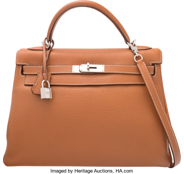 384708cdcbe3 Hermes 32cm Gold Clemence Leather Retourne Kelly Bag with