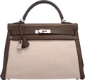 Luxury Accessories:Bags, Hermes 32cm Vert Olive Barenia Leather and Toile Retourne ...