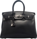 Luxury Accessories:Bags, Hermes 35cm Black Box Calf Leather Birkin Bag with Palladi...