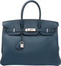 Luxury Accessories:Bags, Hermes 35cm Blue de Prusse Swift Leather Birkin Bag with P...