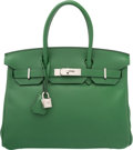 "Luxury Accessories:Bags, Hermes 30cm Vert Bengale Swift Leather Birkin Bag with PalladiumHardware. N Square, 2010. Condition: 3. 12""Width..."