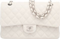 """Luxury Accessories:Bags, Chanel White Caviar Leather Medium Double Flap Bag with SilverHardware. Condition: 1. 10"""" Width x 6"""" Height x 2.5""""De..."""