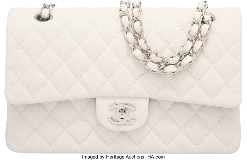 99903256d956 Luxury Accessories:Bags, Chanel White Caviar Leather Medium Double Flap Bag  with SilverHardware.