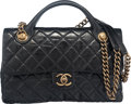 """Luxury Accessories:Bags, Chanel Black Glazed Calfskin Leather Classic Quilted Castle RockTop Handle Flap Bag. Condition: 2. 11.5"""" Width x 7""""H..."""