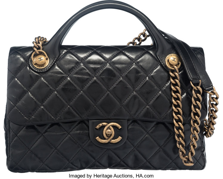 Chanel Black Glazed Calfskin Leather Classic Quilted Castle | Lot ... : quilted castle - Adamdwight.com