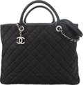 "Luxury Accessories:Bags, Chanel Black Quilted Caviar Leather Large Shopping Tote Bag withSilver Hardware. Condition: 3. 15"" Width x 11""Height..."