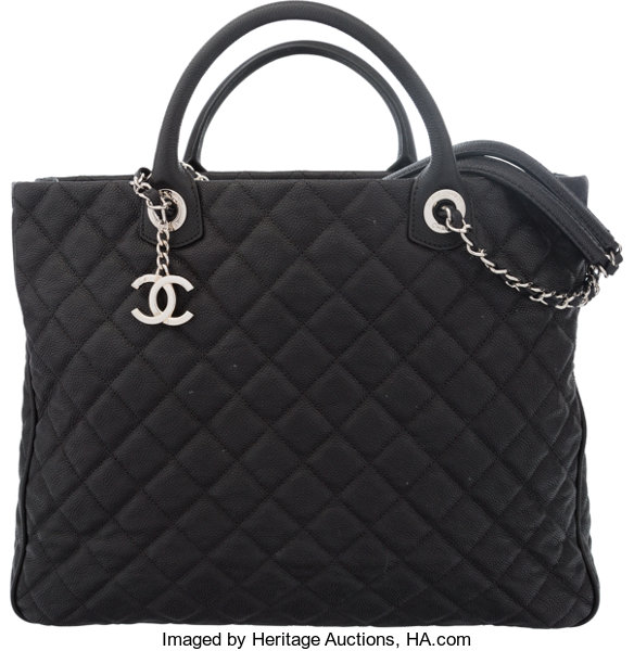 0a8d42b365f2 Chanel Black Quilted Caviar Leather Large Shopping Tote Bag