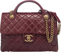 Luxury Accessories:Bags, Chanel Bordeaux Quilted Glazed Calfskin Leather Large Cast...
