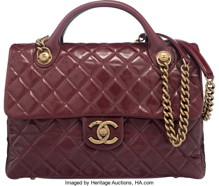 ... Luxury Accessories Bags, Chanel Bordeaux Quilted Glazed Calfskin  Leather Large Castle RockTop Handle Flap ... e32610be1b