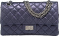 Luxury Accessories:Bags, Chanel Metallic Navy Blue Quilted Distressed Leather Reissue 225Double Flap Bag with Silver Hardware. Condition...