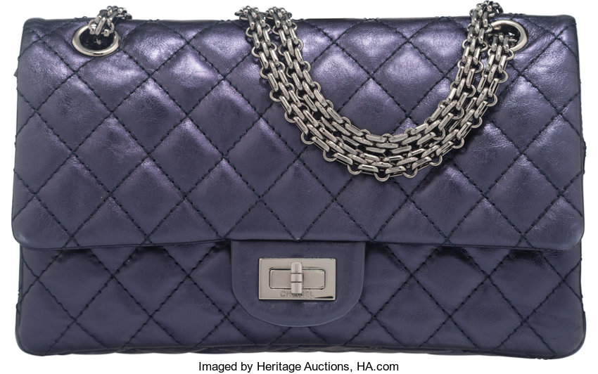 Chanel Metallic Navy Blue Quilted Distressed Leather Reissue  d607df0132
