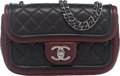 """Luxury Accessories:Bags, Chanel Black and Bordeaux Quilted Lambskin Leather Mini Flap Bagwith Ruthenium Hardware. Condition: 1. 8"""" Width x 5"""" Heig..."""