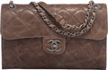 "Luxury Accessories:Bags, Chanel Dark Taupe Distressed Caviar Leather Flap Bag with RutheniumHardware. Condition: 3. 10.5"" W..."
