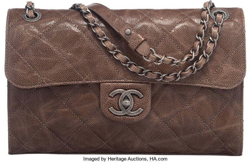 Chanel Dark Taupe Distressed Caviar Leather Flap Bag with  c0aa42e8f326a