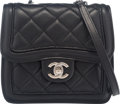 "Luxury Accessories:Bags, Chanel Black and White Quilted Lambskin Mini Flap Bag with SilverHardware. Condition: 3. 6"" Width ..."