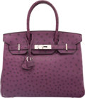 "Luxury Accessories:Bags, Hermes 30cm Violet Ostrich Birkin Bag with Palladium Hardware. ISquare, 2005. Condition: 4. 12"" Width x 8""Height..."