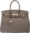 """Luxury Accessories:Bags, Hermes 35cm Etain Clemence Leather Birkin Bag with PalladiumHardware. Q Square, 2013. Condition: 2. 14"""" Widthx 1..."""