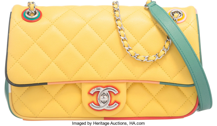 Luxury Accessories Bags Chanel Yellow Quilted Lambskin Cuba Collection Small Flap Bag Withsilver Hardware