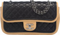 "Luxury Accessories:Bags, Chanel Black and Dark Beige Quilted Lambskin Medium Flap Bag with Ruthenium Hardware. Condition: 3. 10"" Width x 6"" Height ..."