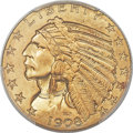 Indian Half Eagles, 1908 $5 MS65+ PCGS....