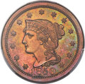 Proof Large Cents, 1850 1C PR63 Red and Brown PCGS. N-11, R.7....