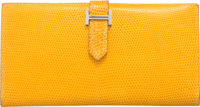 Hermes Canary Lizard Bearn Wallet with Palladium Hardware F Square, 2002 Condition: 4