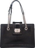 """Luxury Accessories:Bags, Chanel Black Glazed Calfskin Leather Boy Tote Bag with SilverHardware. Condition: 3. 12.5"""" Width x 8.5"""" Height x 4.5"""" Depth..."""