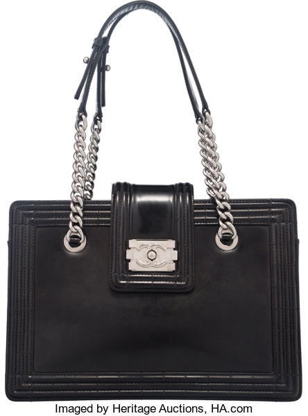 607c522591f8 Luxury Accessories:Bags, Chanel Black Glazed Calfskin Leather Boy Tote Bag  with SilverHardware.