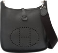 "Luxury Accessories:Bags, Hermes Black Epsom Leather Evelyne I PM Bag with PalladiumHardware. I Square, 2005. Condition: 3. 11"" Width x 12"" Height..."