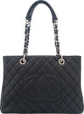 """Luxury Accessories:Bags, Chanel Black Quilted Caviar Leather Grand Shopping Tote Bag.Condition: 3. 13"""" Width x 9"""" Height x 5"""" Depth. ..."""