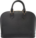 """Luxury Accessories:Bags, Louis Vuitton Black Epi Leather Alma PM Bag. Condition: 4. 12.5""""Width x 9.5"""" Height x 6"""" Depth. Property of a Lady. ..."""