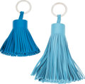 "Luxury Accessories:Accessories, Hermes Set of Two; Zanzibar & Light Blue Swift Leather Tassel Charms. Condition: 1. 2"" Width x 2.5"" Height x 2"" Depth... (Total: 2 Items)"