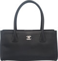 Luxury Accessories:Bags, Chanel Black Caviar Leather Small Cerf Tote with Silver Ha...