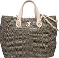 "Luxury Accessories:Bags, Chanel Black and Beige Woven Straw Large Shopping Tote Bag.Condition: 2. 13.75"" Width x 11"" Height x 5"" Depth. Propertyo..."