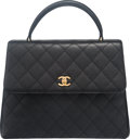 "Luxury Accessories:Bags, Chanel Black Quilted Caviar Leather Kelly Flap Bag with GoldHardware. Condition: 3. 11.5"" Width x 9"" Height x 4.5""Depth..."