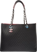 "Luxury Accessories:Bags, Chanel Black Caviar Leather Chevron Perforated Large Shopping ToteBag with Silver Hardware. Condition: 1. 14"" Widthx..."