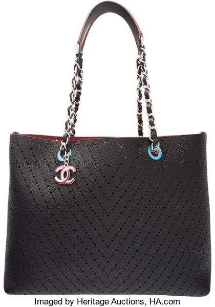 203208e666d3 Chanel Black Caviar Leather Chevron Perforated Large Shopping