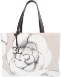 "Luxury Accessories:Bags, Chanel Gray Camellia Flower Canvas Shopping Tote Bag. Condition:2. 14.5"" Width x 11"" Height x 6"" Depth. Property of a Lad..."
