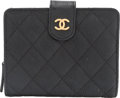 Luxury Accessories:Accessories, Chanel Black Quilted Caviar Leather Small Bifold Wallet wi...