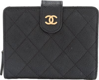 "Chanel Black Quilted Caviar Leather Small Bifold Wallet with Coin Purse Condition: 3 5"" Width x 4"" Height x..."