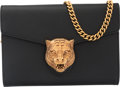 "Luxury Accessories:Bags, Gucci Black Calfskin Leather Animalier Tiger Head Wallet on Chain .Condition: 2. 8"" Width x 5.5"" Height x 1.5"" Depth. Pro..."