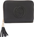 Luxury Accessories:Accessories, Gucci Black Calfskin Leather Small Zip Wallet