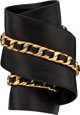 "Chanel Black Lambskin Leather Chain Belt Condition: 4 4"" Width x 23.5"" Length This belt is done in black lambs..."