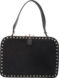ecfab2fca9a Valentino Black Ponyhair and Leather Rockstud Shoulder Bag Condition: 3  10.75