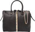 """Luxury Accessories:Bags, Valentino Black Calfskin Rockstud Zip Tote. Condition: 3. 12.75""""Width x 11"""" Height x 5.5"""" Depth. Property of a Lady. ..."""
