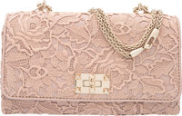"Valentino Blush Pink Leather and Lace Griello Flap Bag Condition: 3 9.5"" Width x 5.5"" Height x 2.5"" Depth"