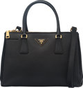 "Luxury Accessories:Bags, Prada Black Small Saffiano Lux Double-Zip Tote Bag. Condition:3. 12"" Width x 8"" Height x 5.5"" Depth. Property of a Lady..."