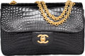 "Luxury Accessories:Accessories, Chanel Shiny Black Crocodile Small Double Flap Bag with GoldHardware. Condition: 3. 9"" Width x 5.5..."